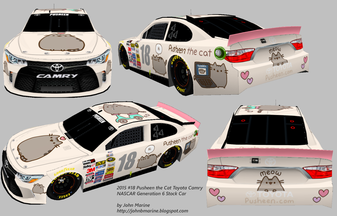 Pusheen the Cat Toyota Camry NASCAR Generation 6 Stock Car